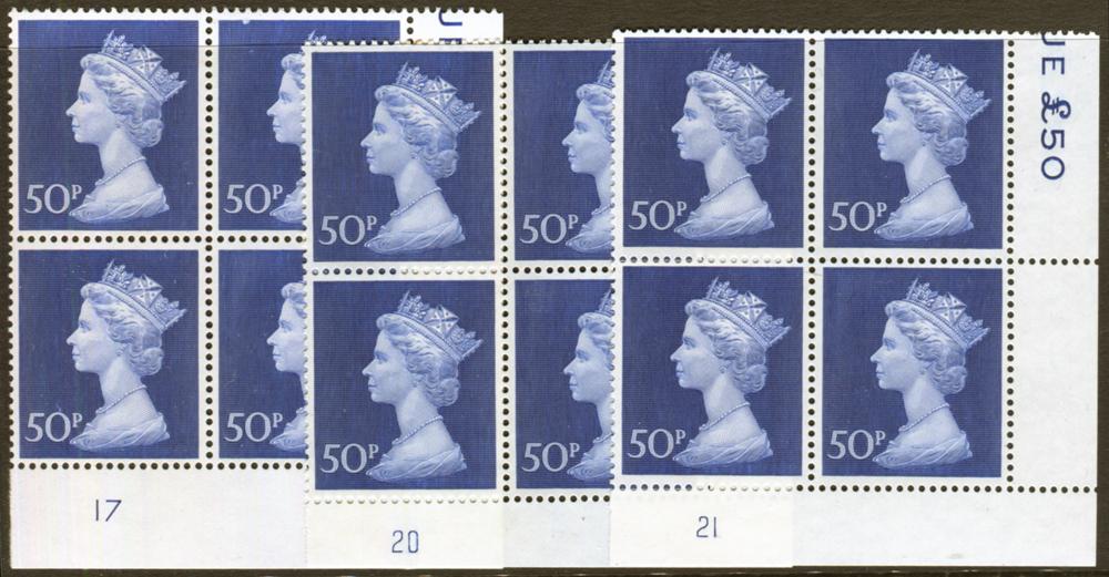 1970 Machin 50p deep ultramarine on Post Office phosphorised paper - Plate blocks