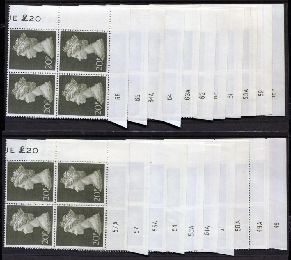 1970-73 Machin 20p olive green on Bradbury's paper - Plate blocks