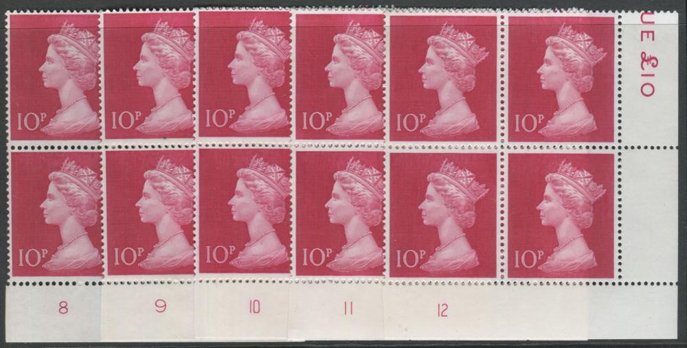 1970-74 Machin 10p cerise - Plate blocks