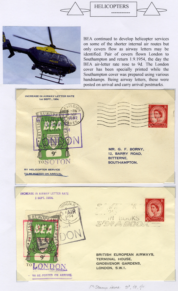 1954 British European Airways Helicopter flight covers (2)