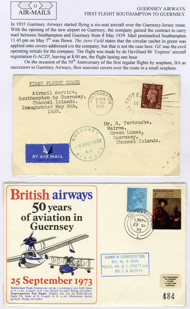 1939 Guernsey Airways first flight cover Southampton - Guernsey