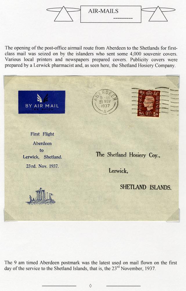 1937 Nov 23rd Allied Airways Aberdeen - Lerwick first flight cover by 'Shetland Hosiery'