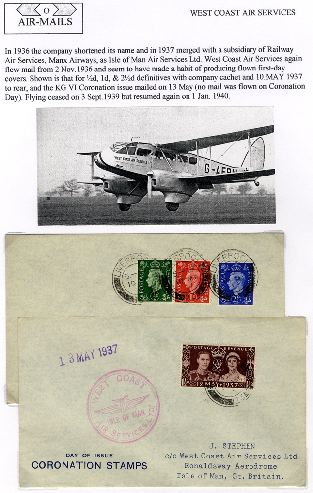 1937 covers (2) flown West Coast Air Service Liverpool to Douglass