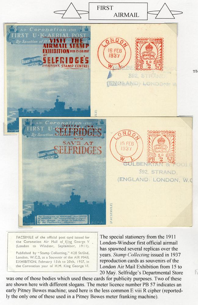 1937 Airmail Exhibition Facsimile Coronation airmail card - SELFRIDGES slogan pmk