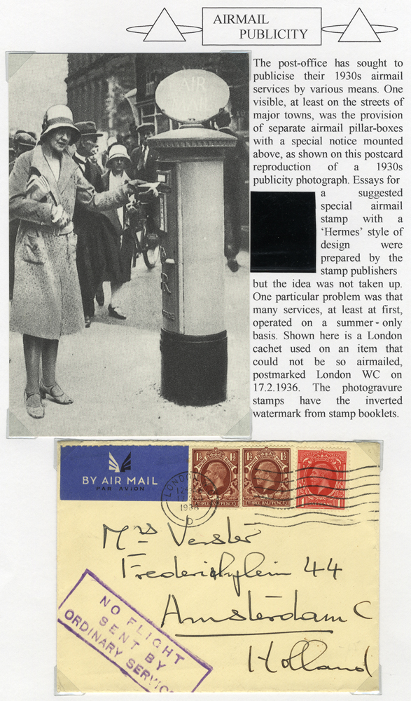 1936 airmail cover from London to Amsterdam - 'NO FLIGHT/SENT BY/ORDINARY SERVICE' cachet
