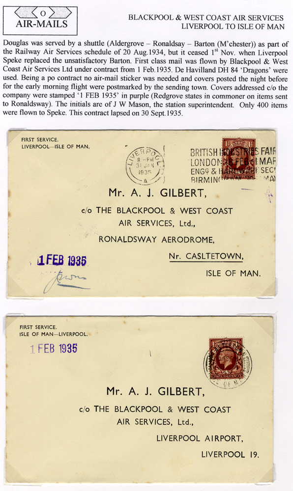 1935 Blackpool & West Coast Air Services first flight covers (2)