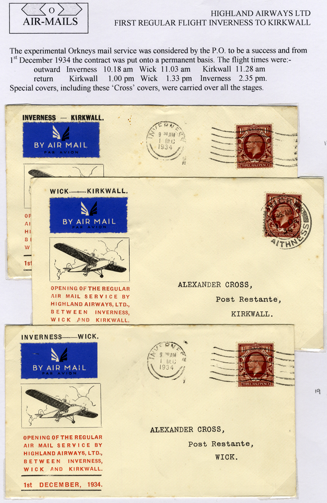 1934 Highland Airways first flight official illustrated covers (3)