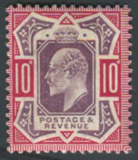 1906 10d slate purple & carmine (chalky) with variety