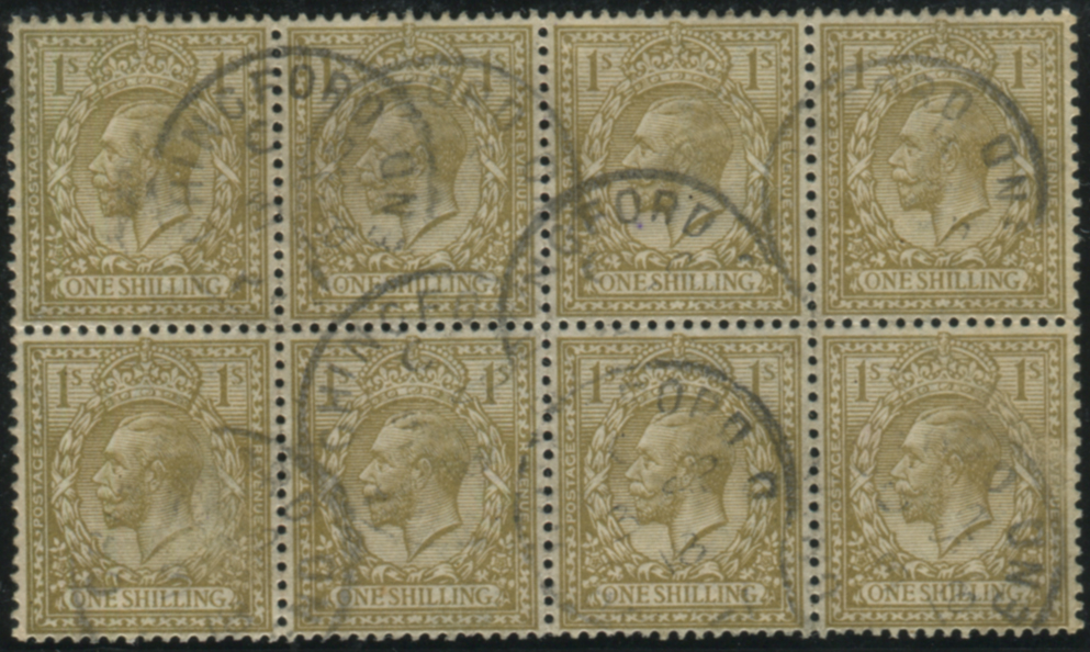 1913 Royal Cypher 1s bistre VFU block of eight
