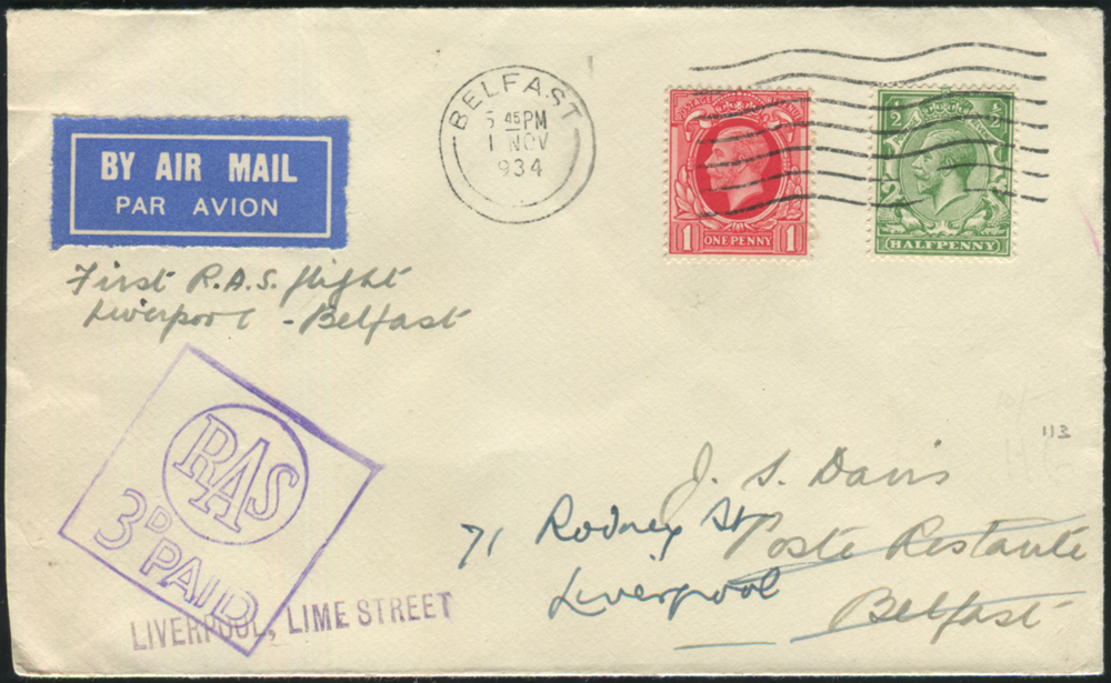 1934 Nov 1st R.A.S first flight cover Liverpool - Belfast