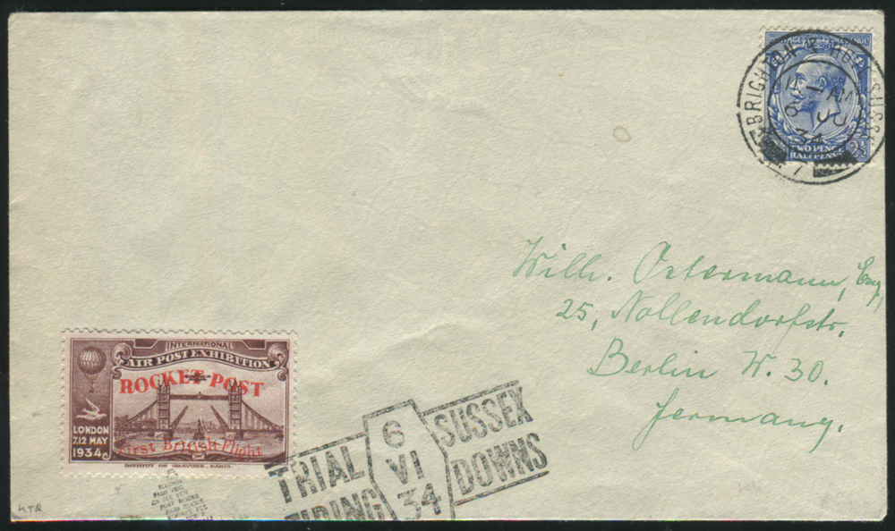 1934 June 6th ZUCKER ROCKET MAIL cover - BRIGHTON & HOVE double ring c.d.s