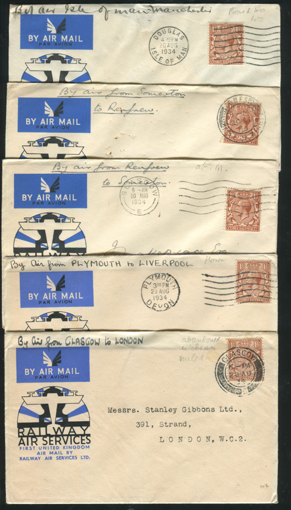 1934 Railway Air Service first flight covers (5) - all official illustrated covers
