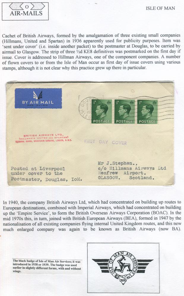 1936 Sept 1st flown cover United Airways RAS flight Douglas - Glasgow - British Airways cachet