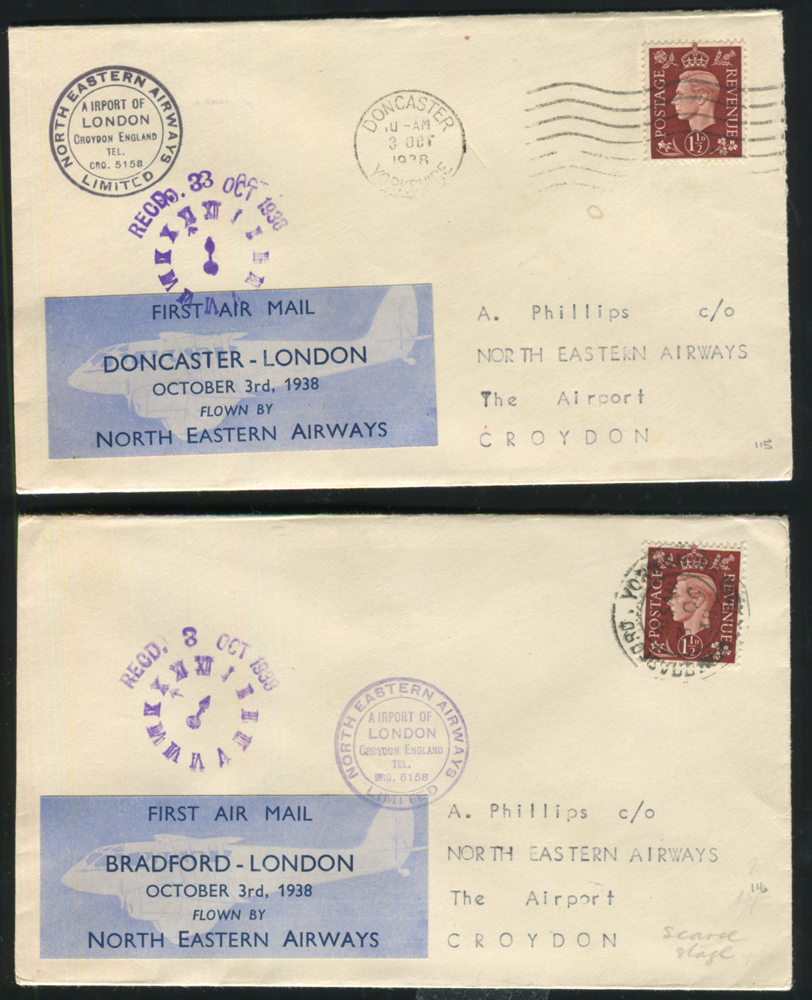 NORTH EASTERN AIRWAYS 1938 first flight covers (2) Doncaster - London & Bradford - London