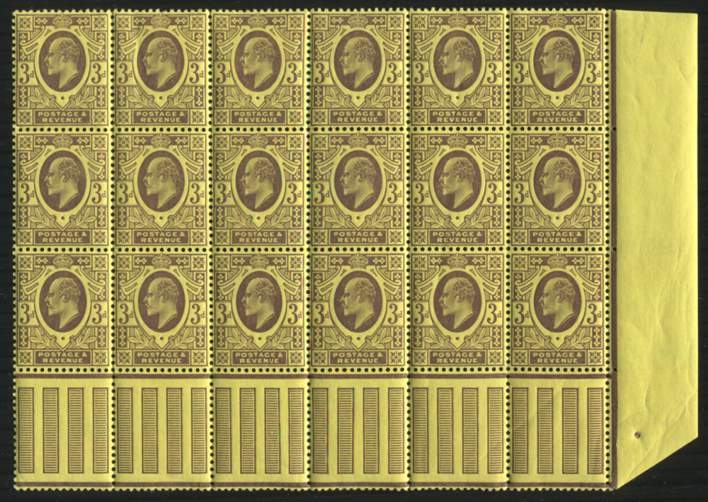 1902 DLR 3d deep purple on orange yellow back, UM block of eighteen - Interpanneau margin