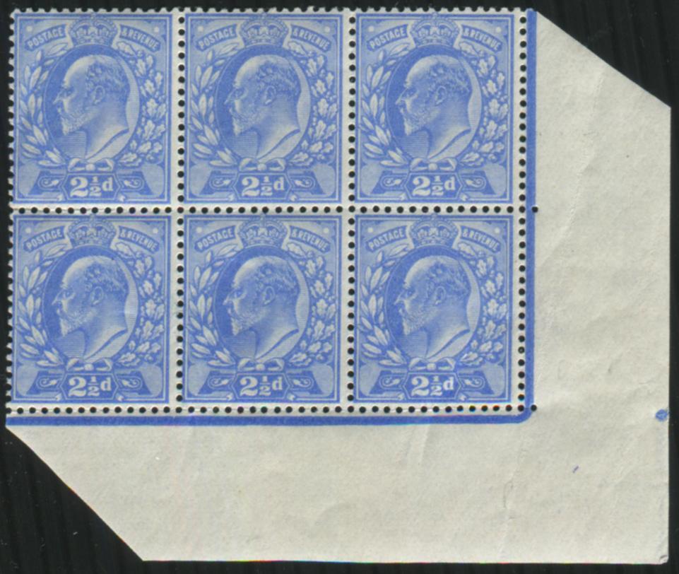 1902 DLR 2½d ultramarine UM block of six