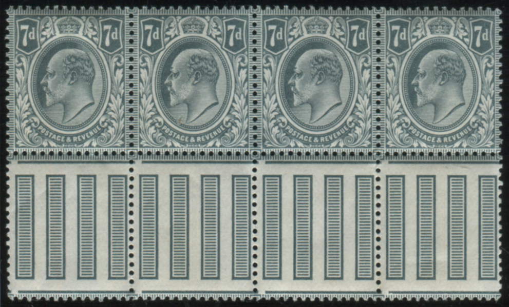 1902 DLR 7d grey black UM strip of four - Interpanneau margin