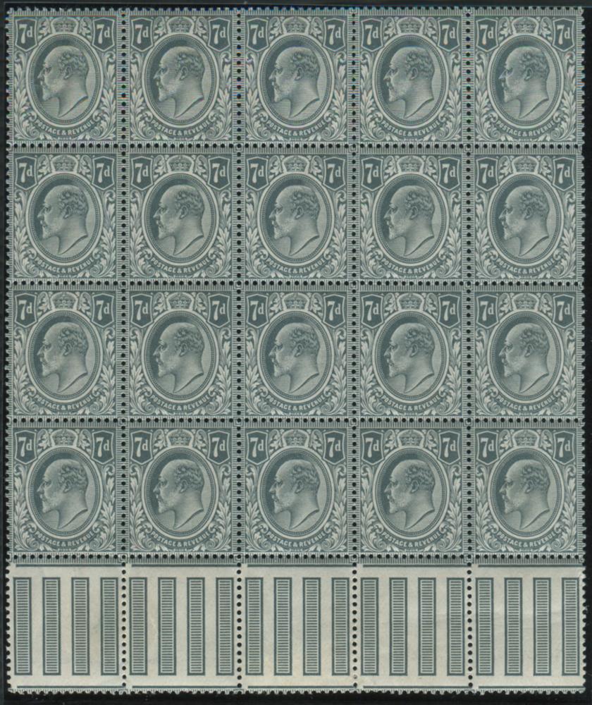 1902 DLR 7d grey black, UM block of twenty - Interpanneau margin