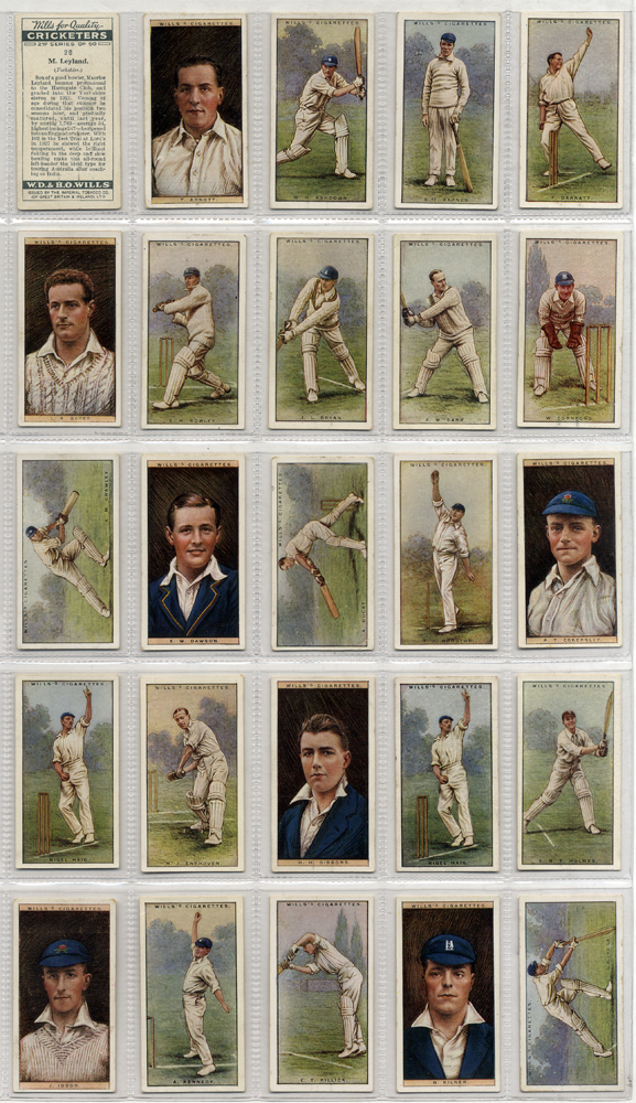 1929 Wills Cricketers, 2nd series, complete set of 50, Cat. £90