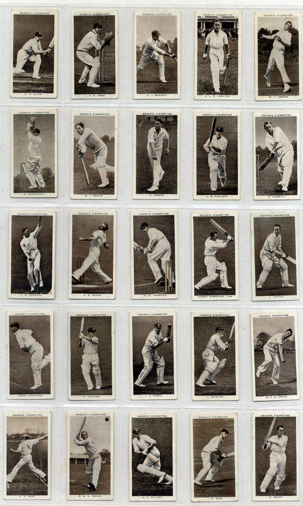 1938 Ogdens Prominent Cricketers, complete set of 50, Cat. £125