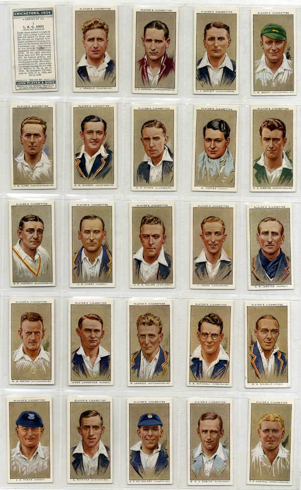 1934 John Player Cricketers, complete set of 50, Cat. £70