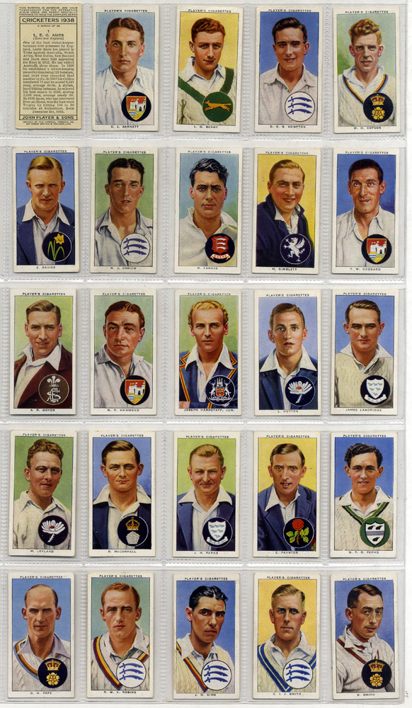 1938 John Player Cricketers, complete set of 50, Cat. £60