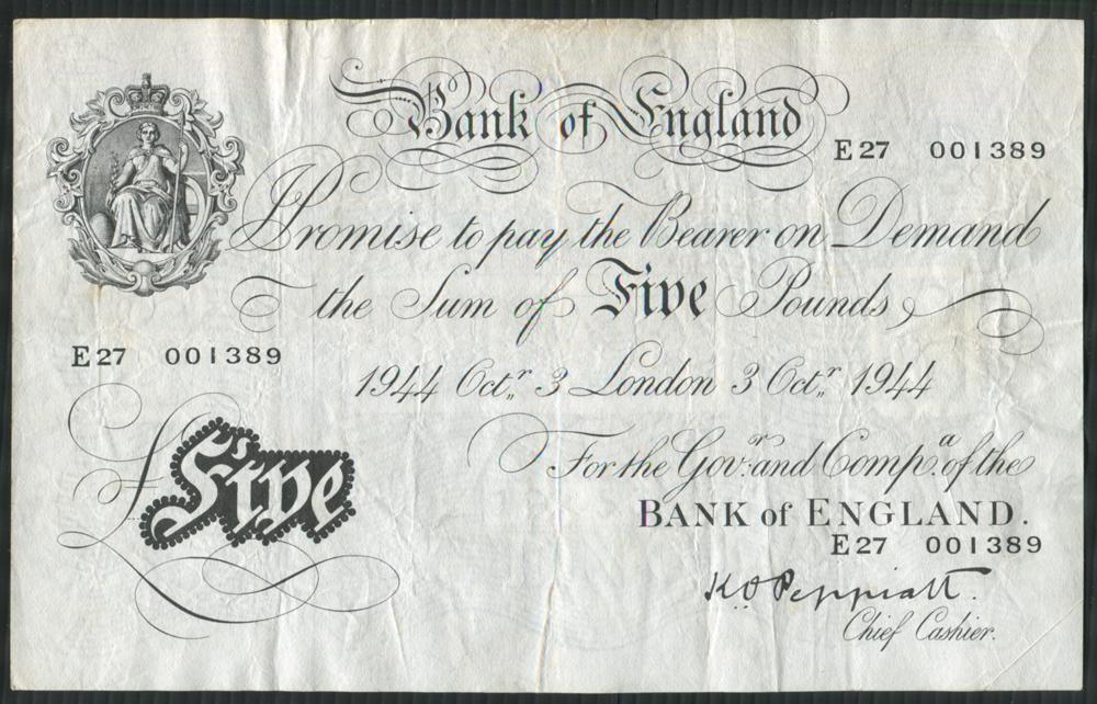 1944 Peppiatt White £5