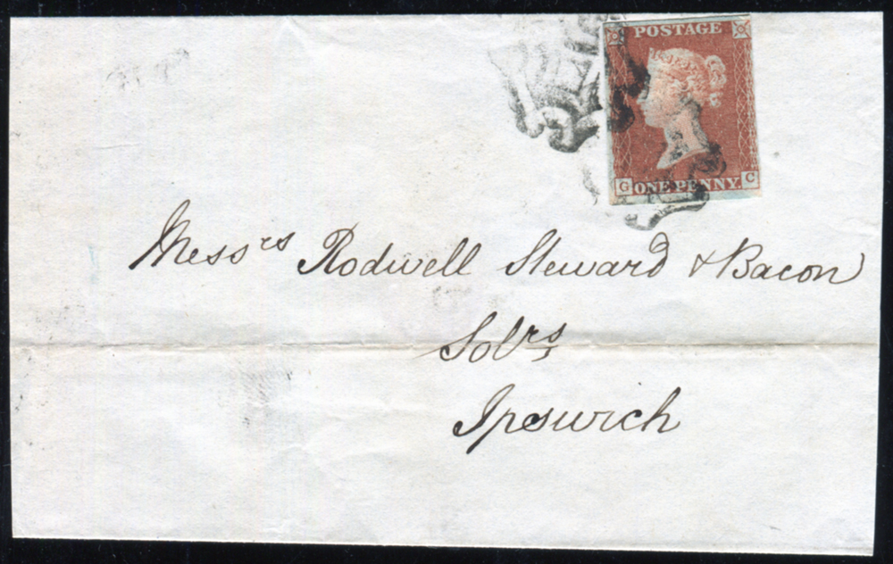 1843 wrapper from Norwich to Ipswich, franked Plate 19 GC