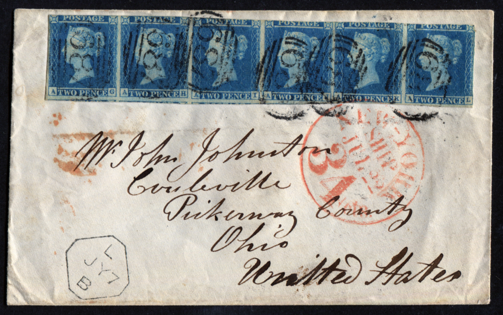 1848 envelope from Sandbach to Ohio, USA, franked 1841 2d Plate 3 AG/AL strip of six