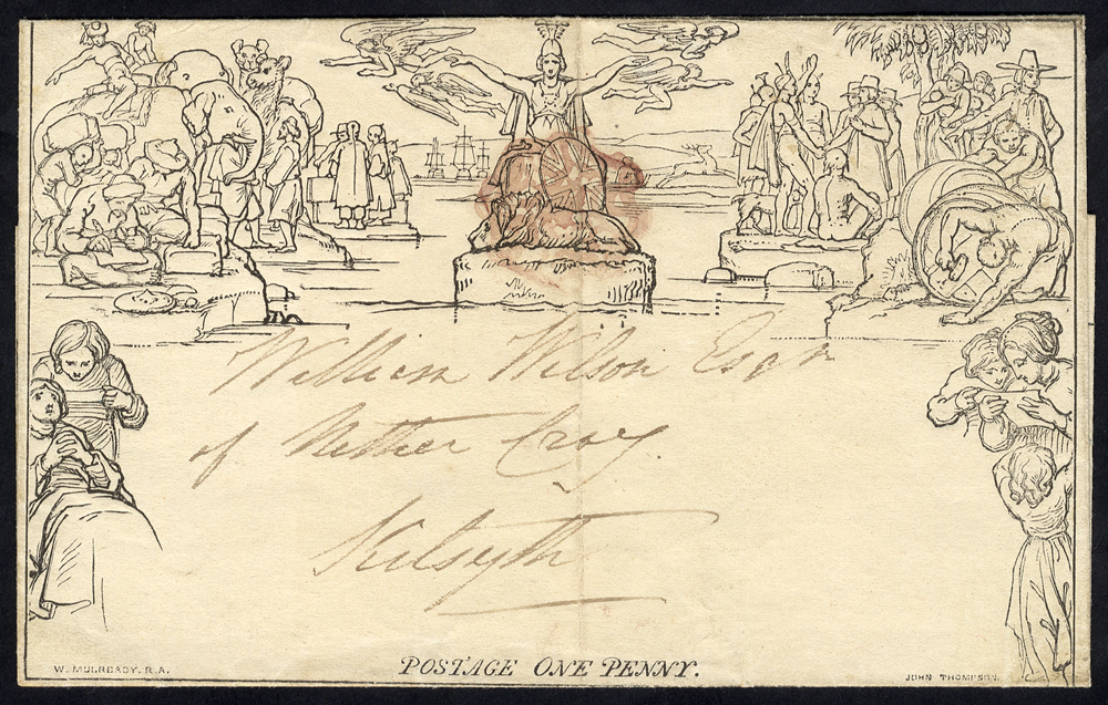 Mulready 1840 July 11th One Penny Letter Sheet, Stereo A65