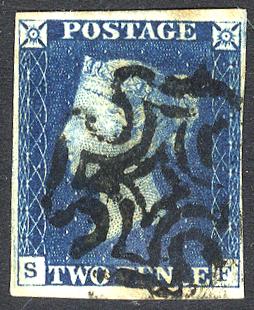 1840 2d blue - Plate 2 SF