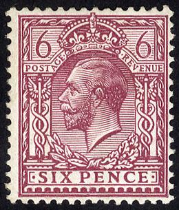 1920 6d reddish purple Perf 14