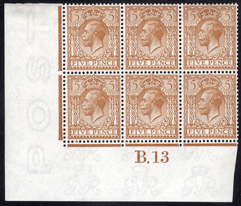 1912 Royal Cypher 5d brown - Control block of six