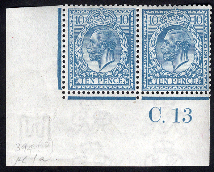 1912 Royal Cypher 10d turquoise blue - Control pair