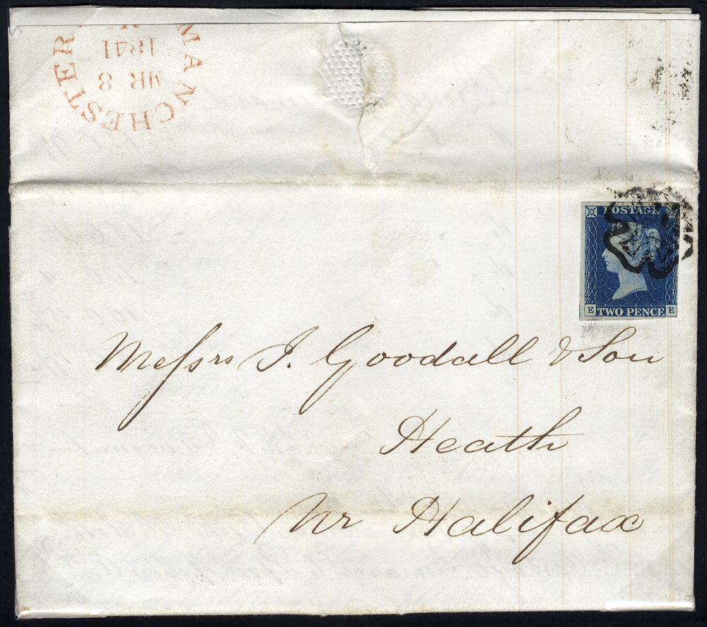 1841 letter from Manchester to Heath Nr Halifax, franked 1840 2d Pl.1 EE