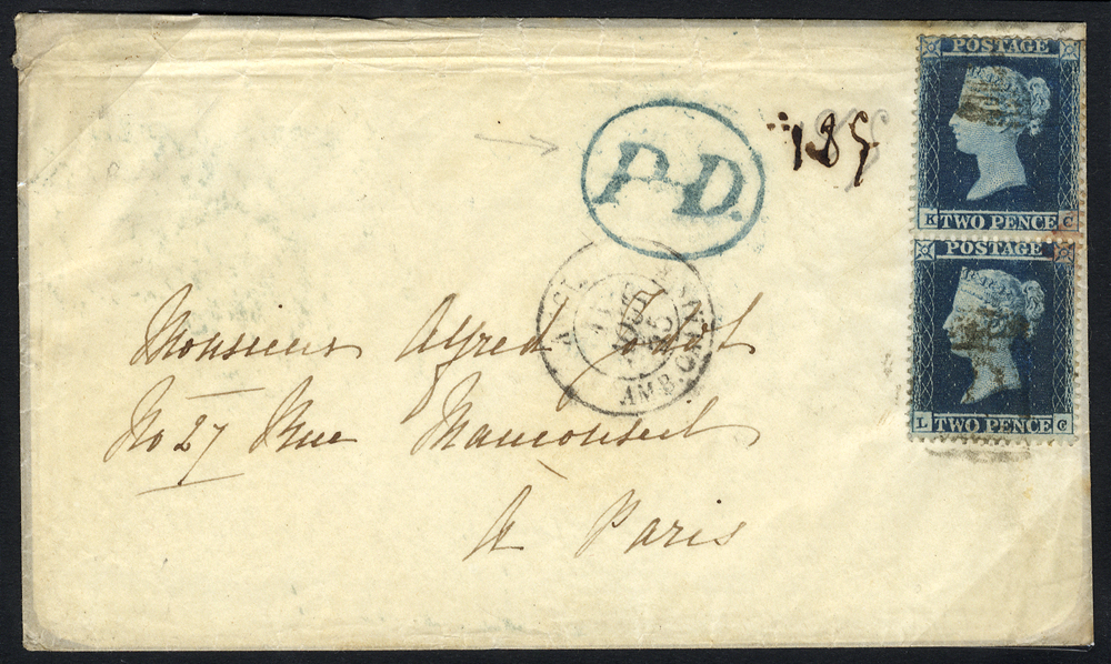 1855 envelope from Margate to Paris, franked pair of 2d Small Crown P.16 Pl.4