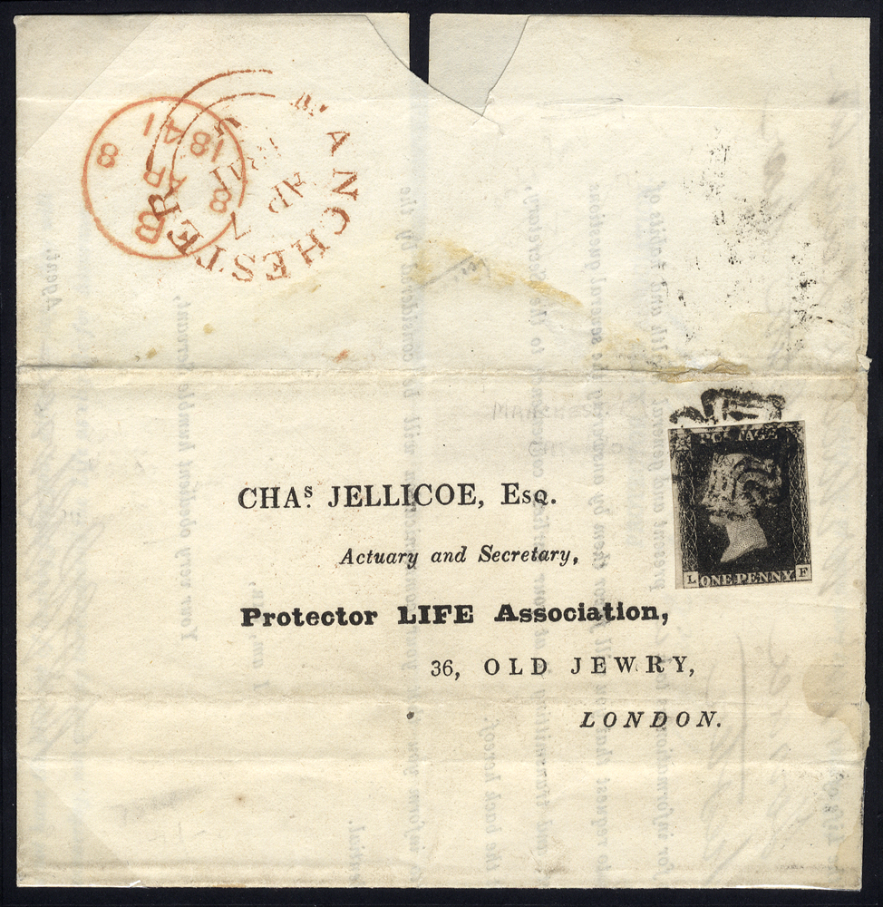 1841 April 7th cover from Manchester to London, franked Pl.9 LF