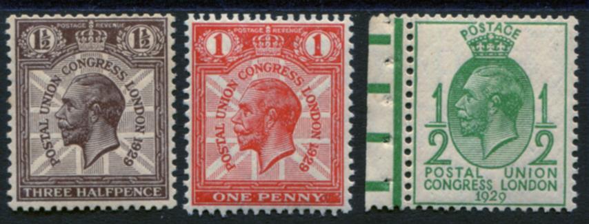 1929 PUC ½d, 1d & 1½d WMK INVERTED