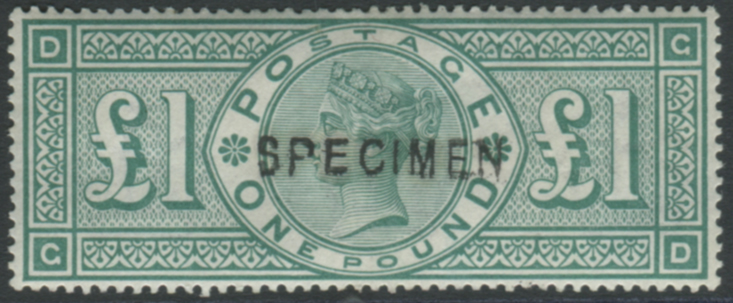 1891 £1 green GD, optd SPECIMEN Type 11