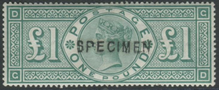 1891 £1 green GD, optd SPECIMEN Type 11