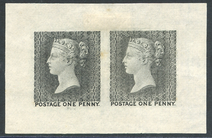 The First (later rejected) Die for the One Penny Stamps. 1902 reprint on cream, wove paper