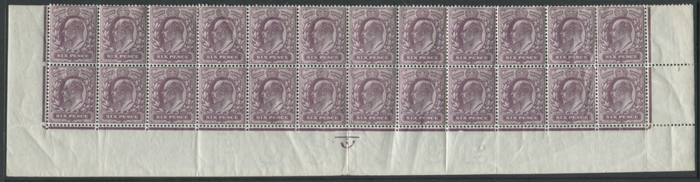 1911 Somerset House 6d reddish purple - bottom two rows of the sheet (24 stamps)