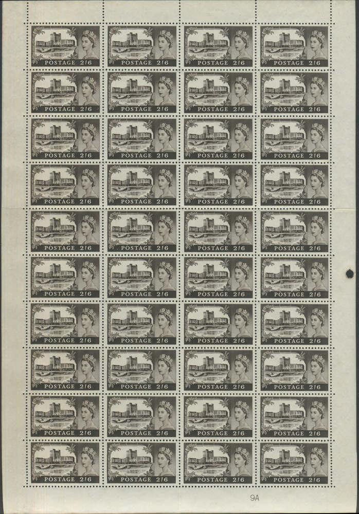 1963 Bradbury Wilkinson 2/6d UM complete sheet of 40 from Plate 9A