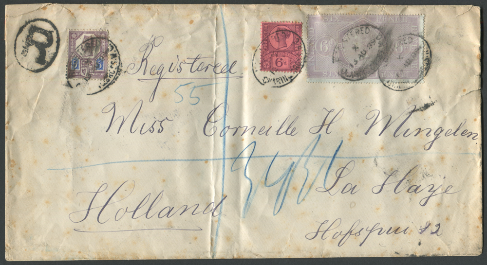 1889 reg envelope, London to The Hague, 5d & 6d Jubilee & 6d reddish lilac Postal Fiscal