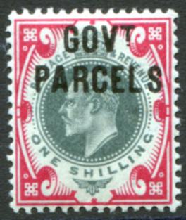 GOVT PARCELS 1902 1s dull green & carmine, fine M