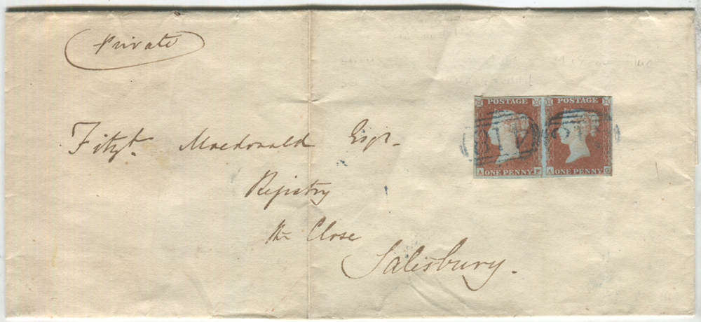 1850 cover from Kingsbridge to Salisbury, franked 1841 1d Pl.88 horizontal pair AF/AG