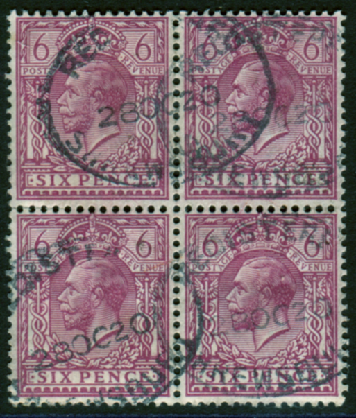 1912 Royal Cypher 6d reddish-purple, Perf 14, VFU block of four