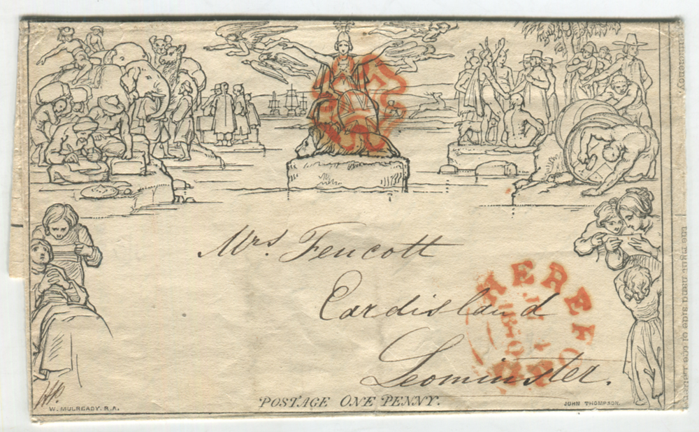 Mulready - 1840 1d Letter Sheet to Leominster with fine orange-red Maltese Cross