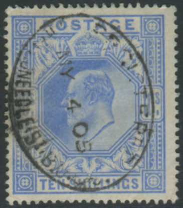 1902 DLR 10s ultramarine - Threadneedle d/stamp