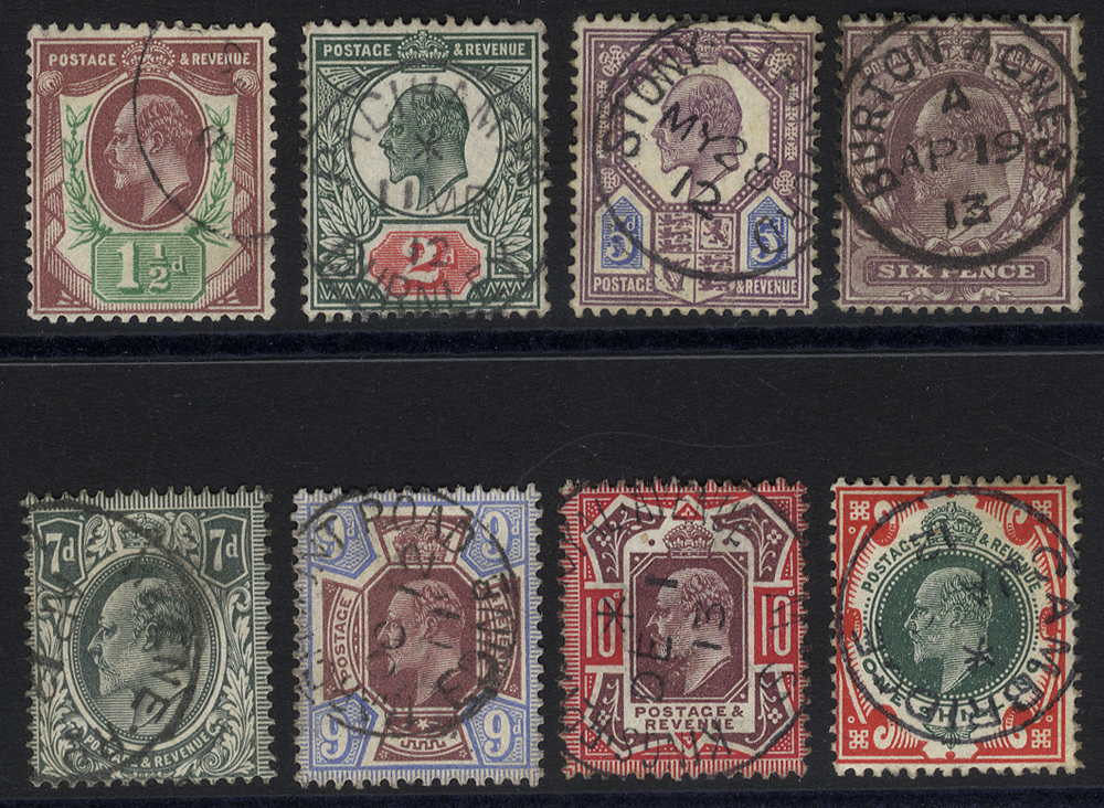 1911 Somerset House Printing basic set of eight with wonderful circular d/stamps.